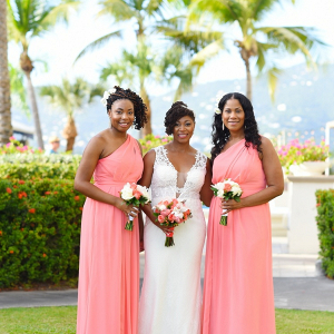 155db9a9ef5 Destination bride  Coral bridesmaid dresses  St ...