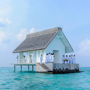 Overwater chapel in the Maldives