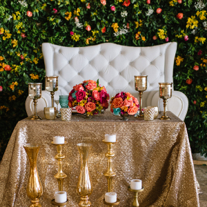 Colorful glam sweetheart table
