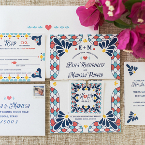 Spanish tile inspired invitation suite