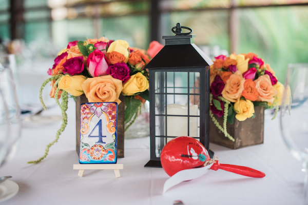 Lantern and wood box centerpieces