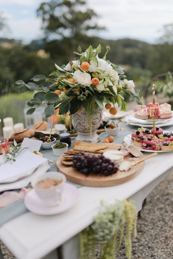 Casual French wedding reception table