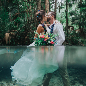 Underwater Wedding Inspiration with Bold Tropical Bouquet