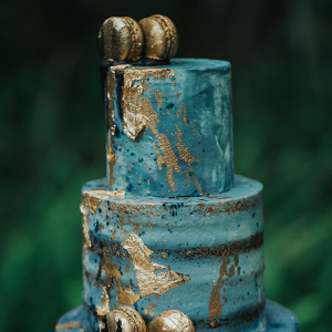 Aqua Wedding Cake with Gold Dripping Macarons