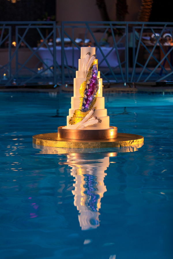 Floating Geode Wedding Cake in a Whimsical Vegas Wedding