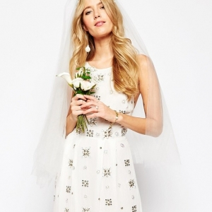 Affordable embellished wedding dress from Dress for the Wedding on Aisle Society