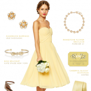 Strapless yellow dress with accessories for a bridesmaid