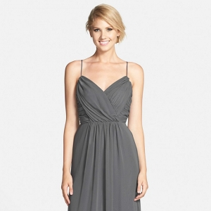 Surplice wrap formal length gray bridesmaid dress