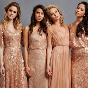 Rose Gold and Copper Bridesmaid Dresses by Donna Morgan