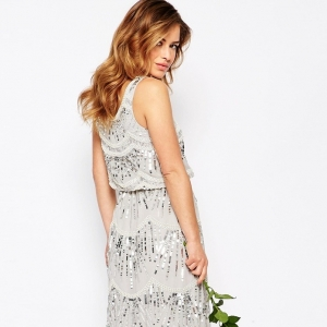 Layered Maxi Dress With All Over Embellishment found on Aisle Society