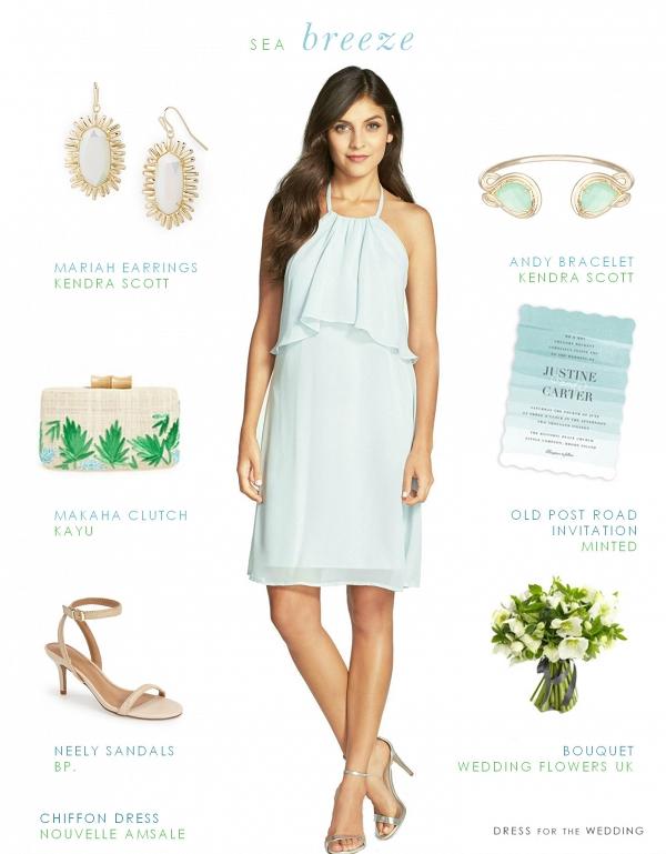 Short Pale Blue Chiffon Dress Coastal Wedding Bridesmaid Style
