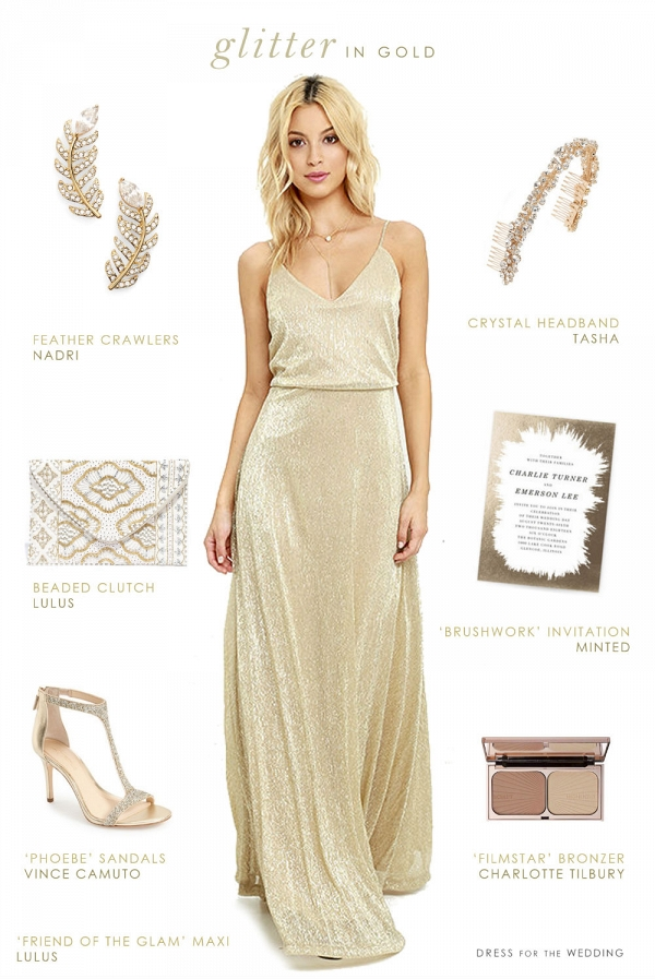 Bridesmaid style idea featuring a gold maxi dress