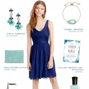 Navy blue dress and mint green accessories