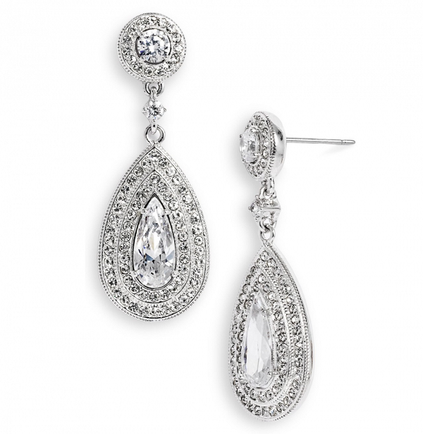 Pear shaped crystal bridal earrings by Nadri