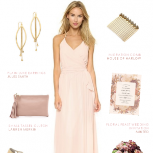 Wrap halter style pink bridesmaid dress by Joanna August