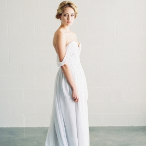 Saint Isabel pale gray off the shoulder wedding dress