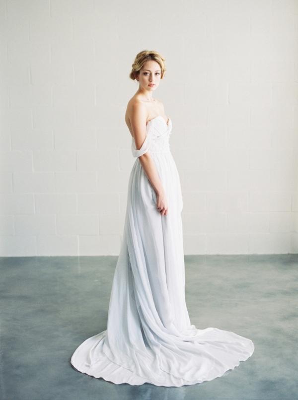 Saint Isabel pale gray off the shoulder wedding dress