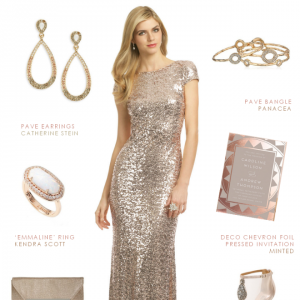 Sequin Gown in Rose Gold