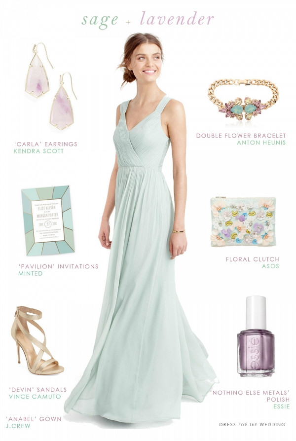 Sage green and lavender bridesmaid style