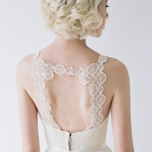 Lace back detail on Truvelle Wedding dress