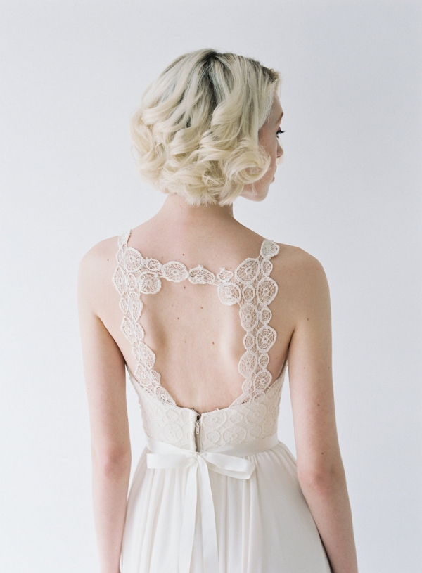 Lace back detail on Truvelle Wedding dress