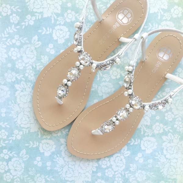 Embellished wedding sandals for beach brides or destination weddings by BellaBelle Shoes on Etsy