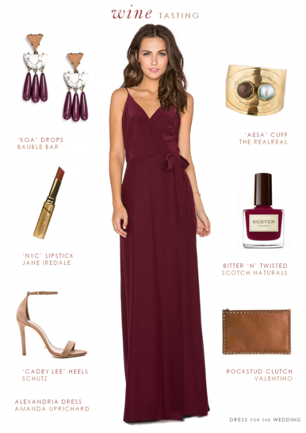 Wine colored or burgundy long dress for wedding guests or bridesmaids