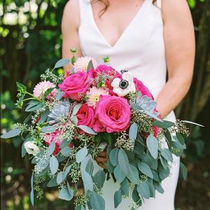 Magenta pink bridal bouquet
