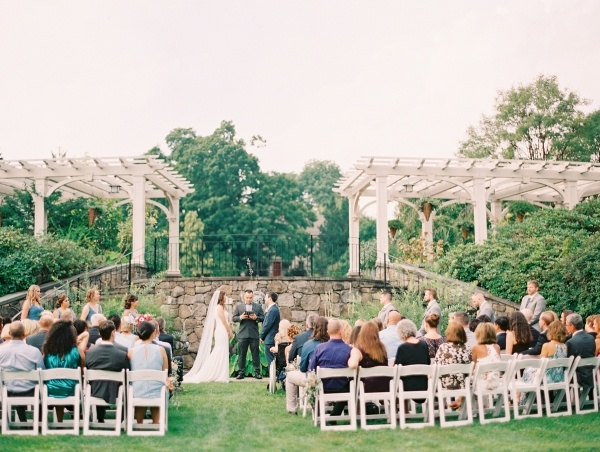 Outdoor botanical garden wedding ceremony