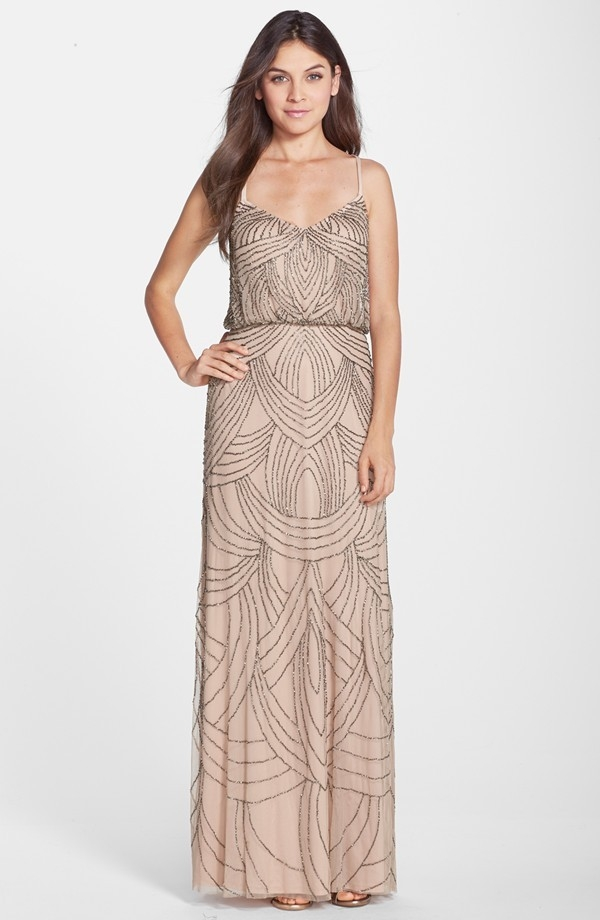 Adriana Papell Beaded Blouson Gown