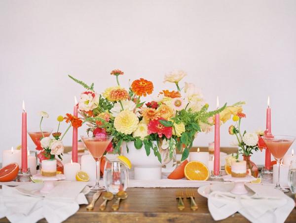 Bright pink, peach, coral & orange wedding inspiration