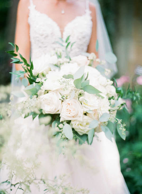 Classic white rose bridal bouquet
