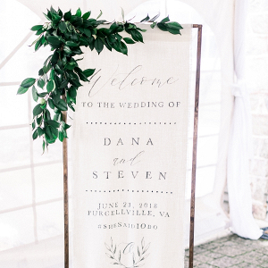 Fabric wedding welcome sign
