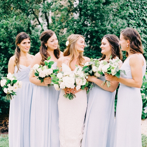 9e5adab5f582 Elizabeth Anne Designs · Green, white, and silver wedding table;  Bridesmaids in light blue dresses ...