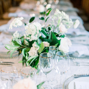 Green, white, and silver wedding table