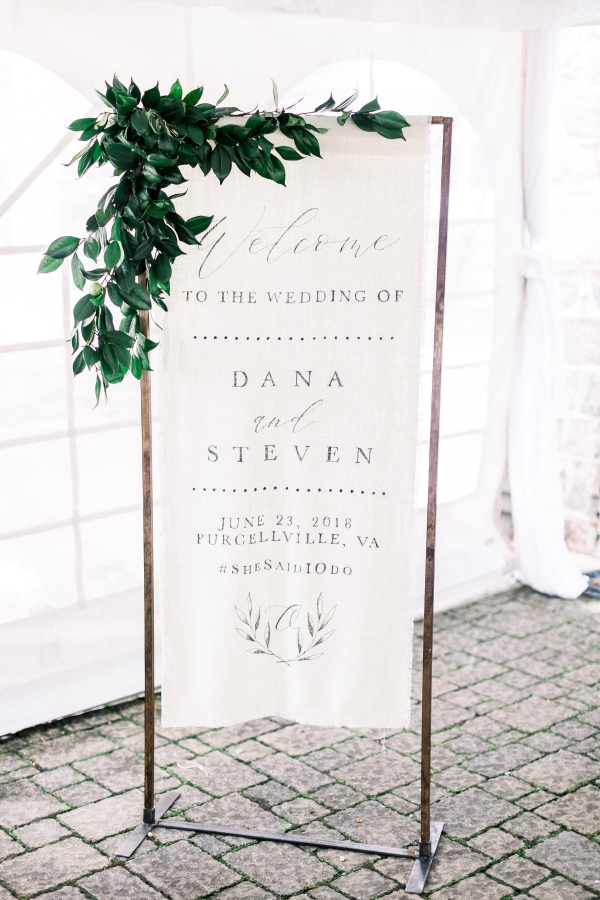 Fabric wedding welcome sign