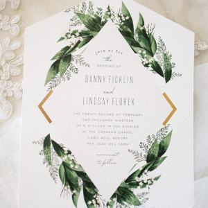 Modern botanical wedding invitation