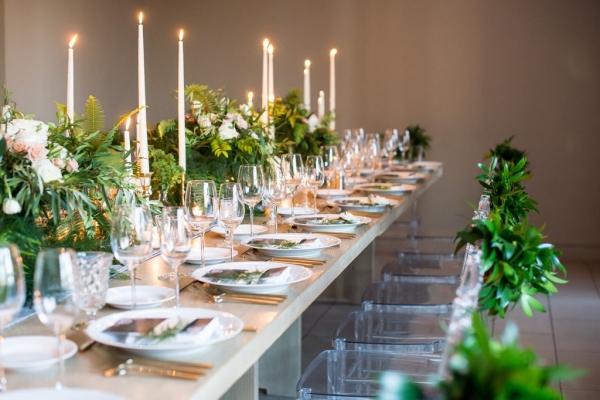 Modern Green and Gray Wedding Reception