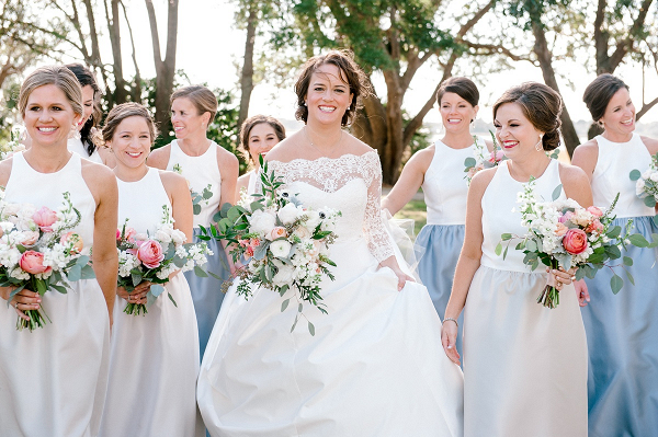Color blocked bridesmaid dresses
