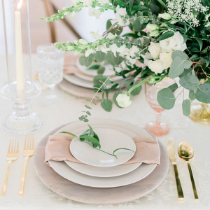 Classic white and blush wedding place setting