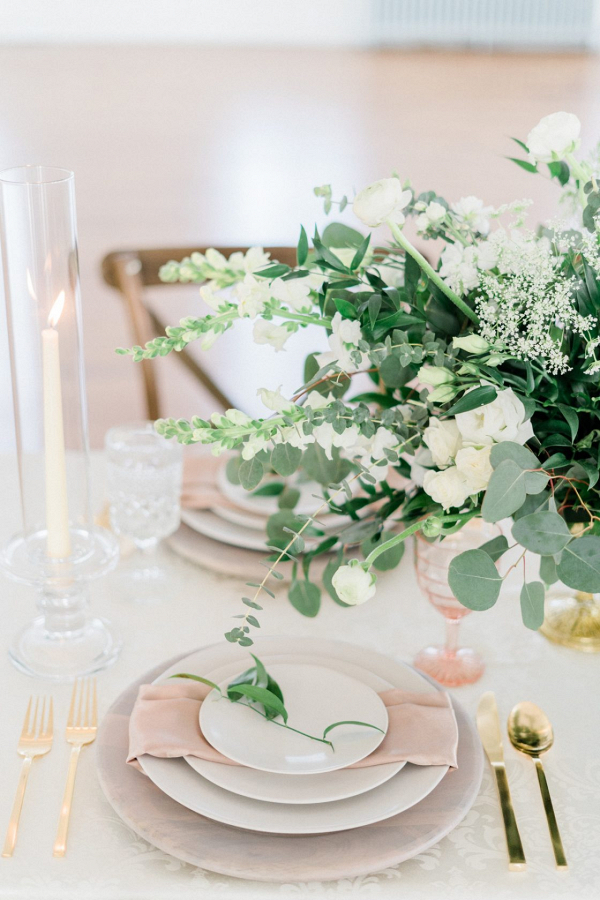 Classic white and blush wedding place setting