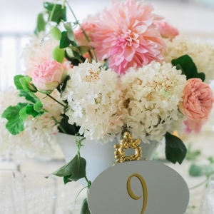 White Hydrangea and Pink Dahlia Centerpiece
