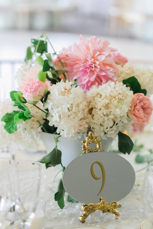 White Hydrangea and Pink Dahlia Centerpiece