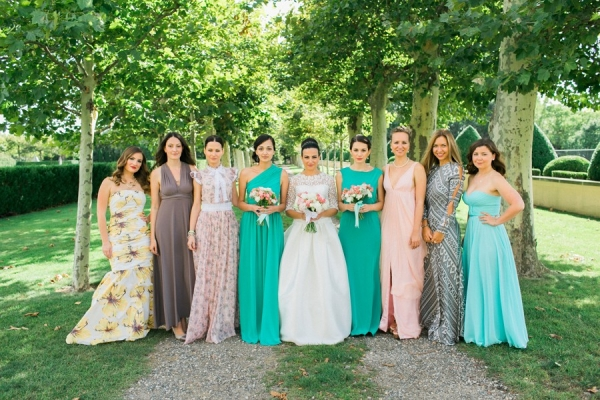 Bridesmaids in Teal Pewter and Blush