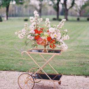 Bar cart floral arrangement
