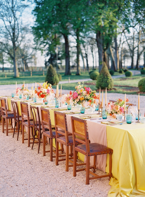 Colorful outdoor wedding reception