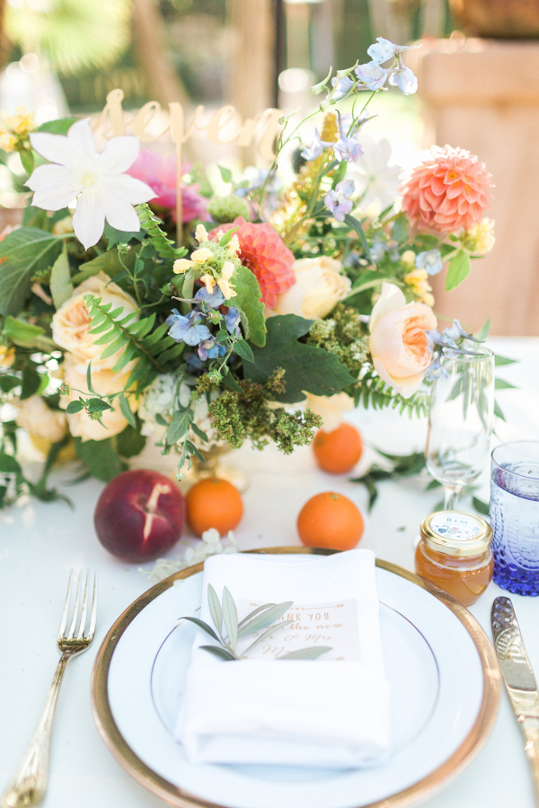 Colorful centerpieces with fruit