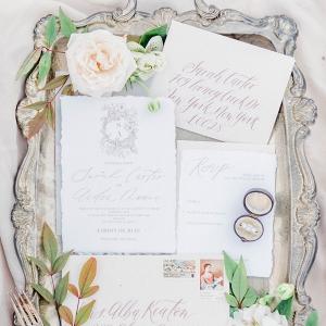 Elegant calligraphy wedding invitation