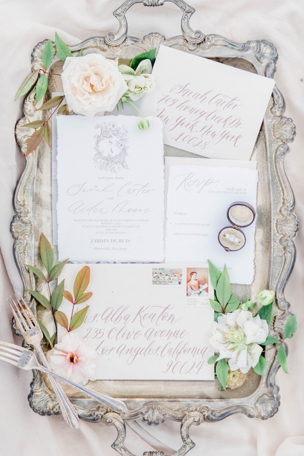 Elegant calligraphy wedding invitation