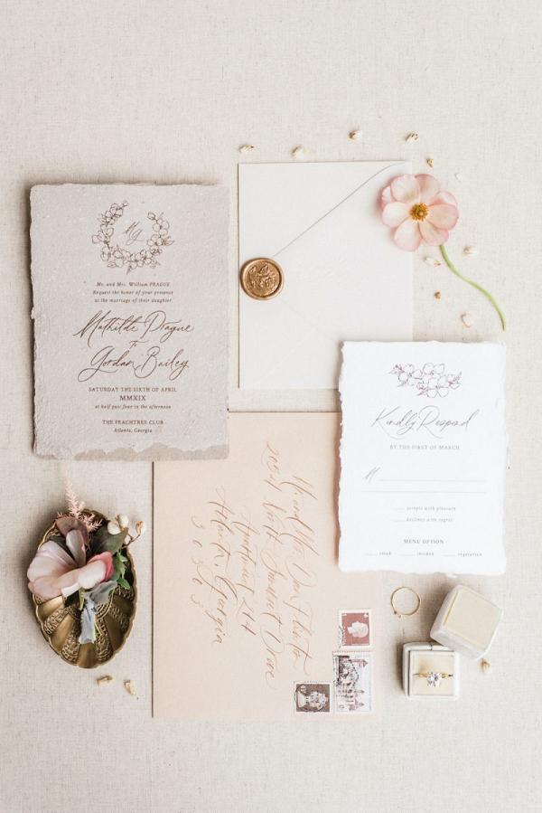 Romantic earthy wedding invitations